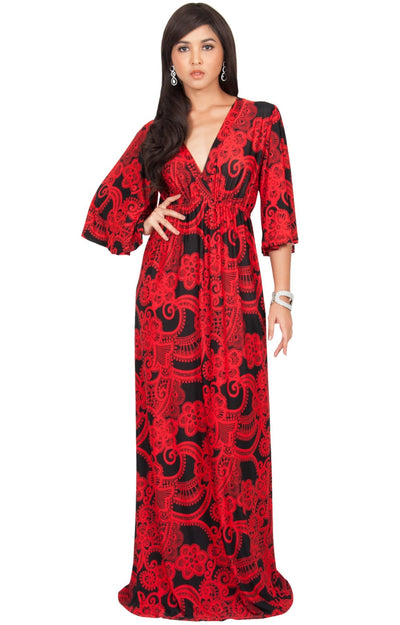 PAULINE - Elegant Long Kimono Sleeve V- Neck Printed Maxi Dress - Red & Black / 2X Large