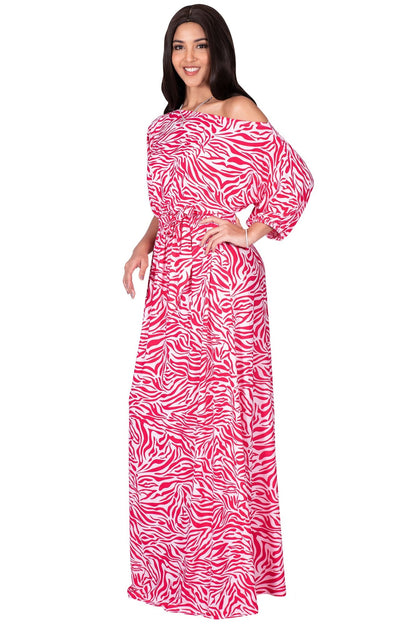 PAYTON - Long Off One Shoulder 3/4 Sleeve Animal Print Maxi Dress Gown - Pink & White / Small