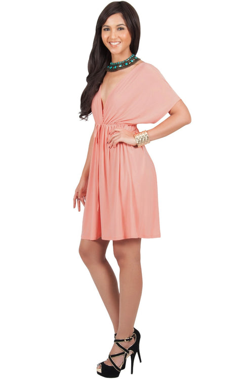 PEARL- Kimono Sleeve Casual Cover Up Party Summer Sundress Mini Dress