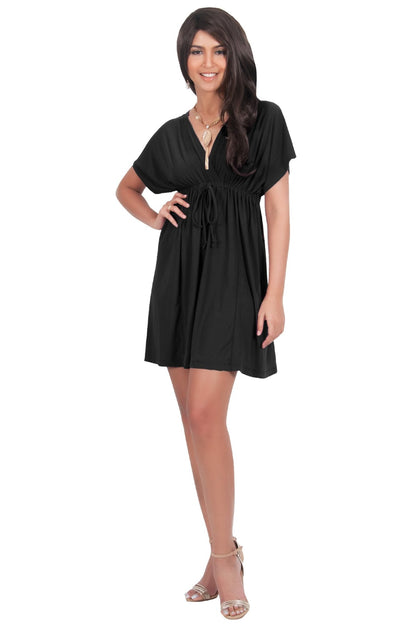 PEARL- Kimono Sleeve Casual Cover Up Party Summer Sundress Mini Dress - Black / 2X Large