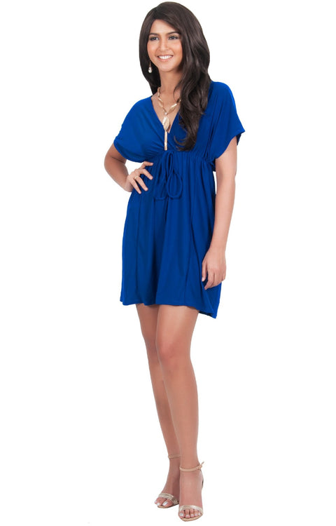 PEARL- Kimono Sleeve Casual Cover Up Party Summer Sundress Mini Dress - Cobalt Royal Blue / Extra Small