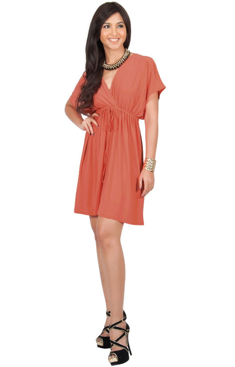 PEARL- Kimono Sleeve Casual Cover Up Party Summer Sundress Mini Dress - Coral Pink Peach / Extra Small
