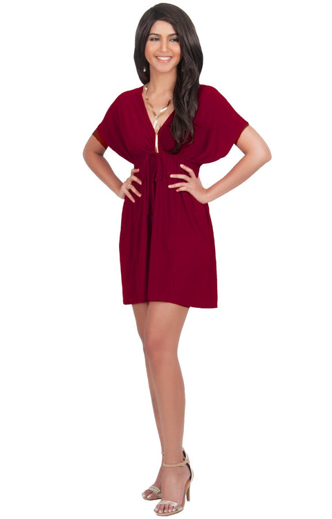 PEARL- Kimono Sleeve Casual Cover Up Party Summer Sundress Mini Dress - Crimson Dark Red / 2X Large
