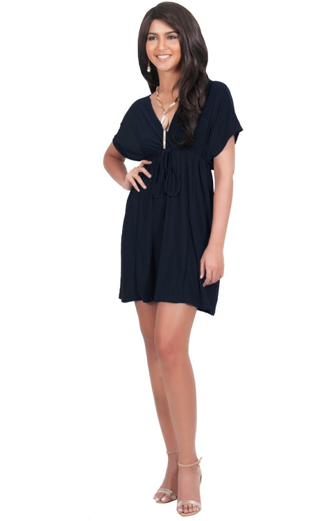 PEARL- Kimono Sleeve Casual Cover Up Party Summer Sundress Mini Dress - Dark Navy Blue / 2X Large