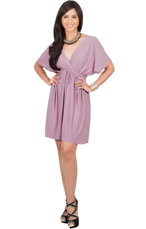 PEARL- Kimono Sleeve Casual Cover Up Party Summer Sundress Mini Dress - Dusty Pink / 2X Large