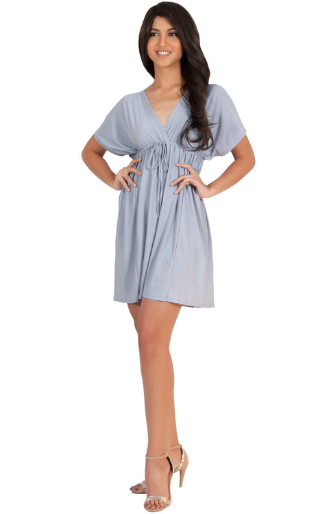 PEARL- Kimono Sleeve Casual Cover Up Party Summer Sundress Mini Dress - Gray Grey / Extra Small