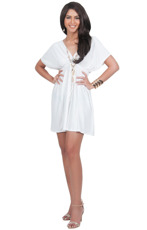 PEARL- Kimono Sleeve Casual Cover Up Party Summer Sundress Mini Dress - Ivory White / 2X Large