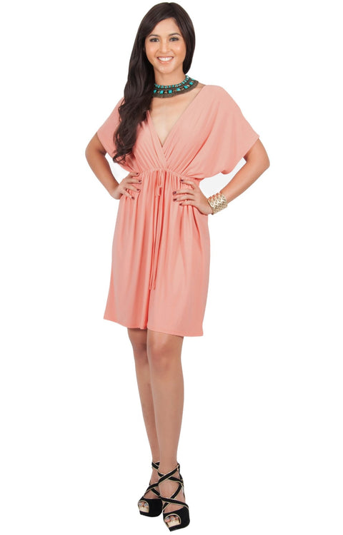 PEARL- Kimono Sleeve Casual Cover Up Party Summer Sundress Mini Dress - Light Pink Peach / 2X Large
