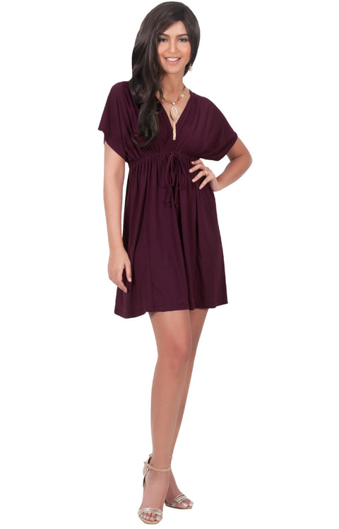 PEARL- Kimono Sleeve Casual Cover Up Party Summer Sundress Mini Dress - Maroon Wine Red / 2X Large