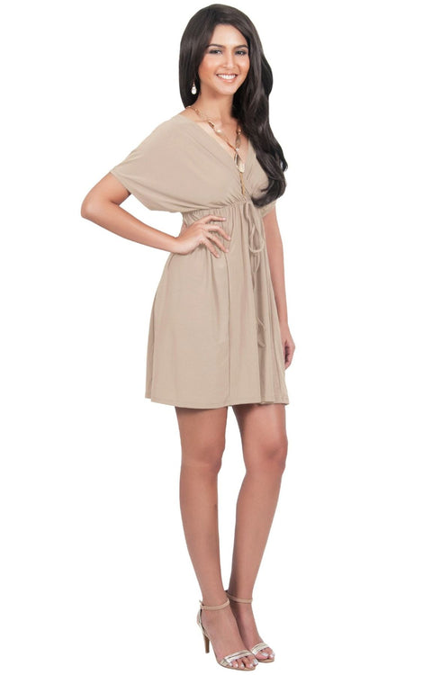 PEARL- Kimono Sleeve Casual Cover Up Party Summer Sundress Mini Dress - Tan Light Brown / 2X Large