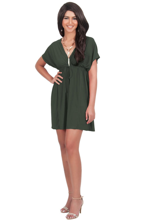 PEARL- Kimono Sleeve Casual Cover Up Party Summer Sundress Mini Dress - Olive Green / 2X Large