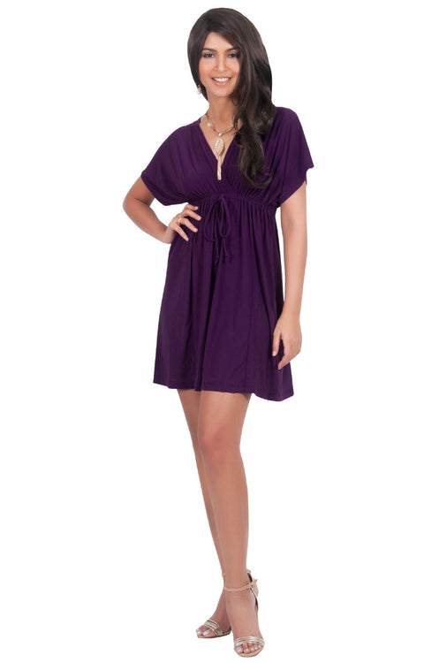 PEARL- Kimono Sleeve Casual Cover Up Party Summer Sundress Mini Dress - Purple / 2X Large