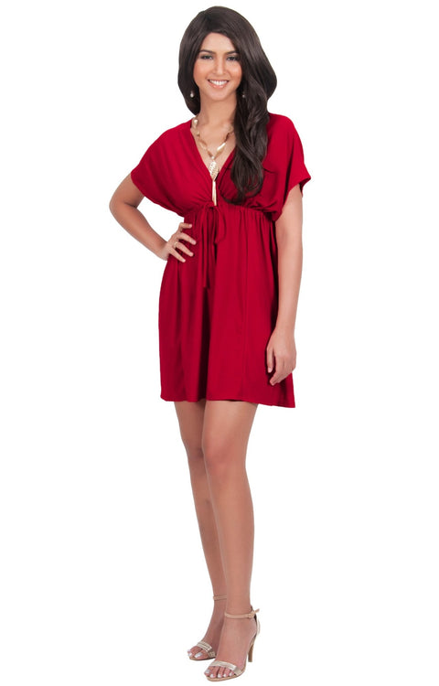PEARL- Kimono Sleeve Casual Cover Up Party Summer Sundress Mini Dress - Red / 2X Large