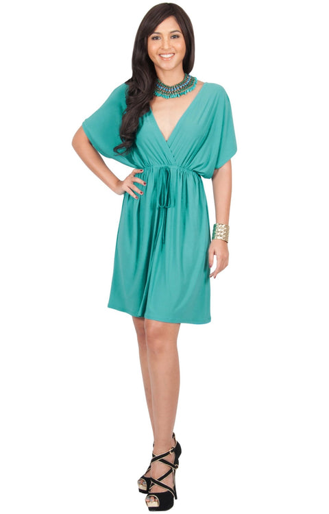 PEARL- Kimono Sleeve Casual Cover Up Party Summer Sundress Mini Dress - Turquoise / 2X Large