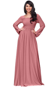 Penelope - Long Sleeve Casual Peasant Winter Fall Cute Maxi Dress Gown - Cinnamon Rose Pink