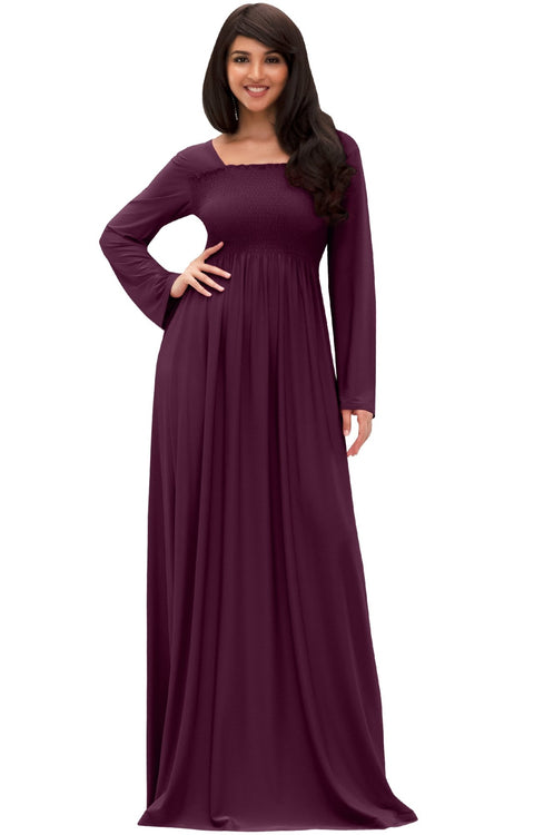 Penelope - Long Sleeve Casual Peasant Winter Fall Cute Maxi Dress Gown - Maroon Wine Red