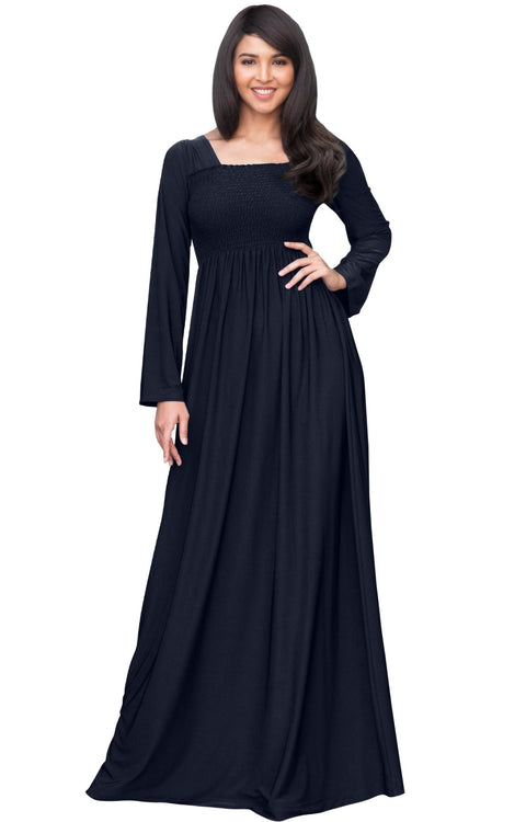 Penelope - Long Sleeve Casual Peasant Winter Fall Cute Maxi Dress Gown - Dark Navy Blue