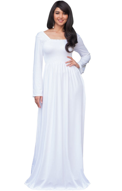 Penelope - Long Sleeve Casual Peasant Winter Fall Cute Maxi Dress Gown - Ivory White