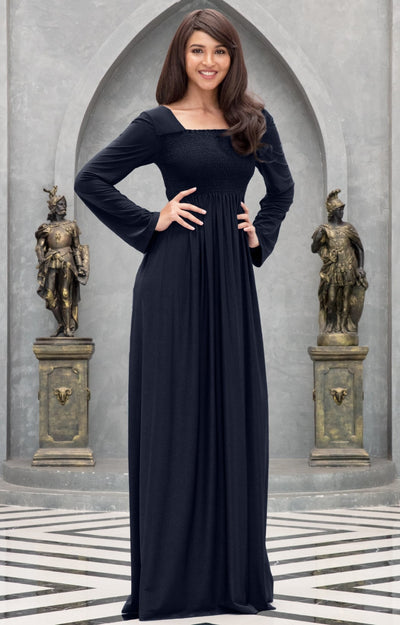 Penelope - Long Sleeve Casual Peasant Winter Fall Cute Maxi Dress Gown
