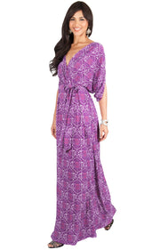 PEONY - Sexy Short Sleeve Cute Boho Print Maxi Dress