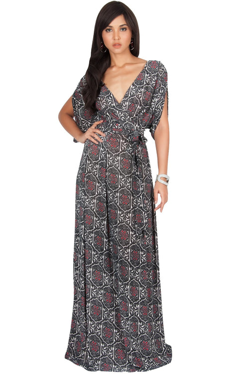 PEONY - Sexy Short Sleeve Cute Boho Print Maxi Dress - Black / 2X Large