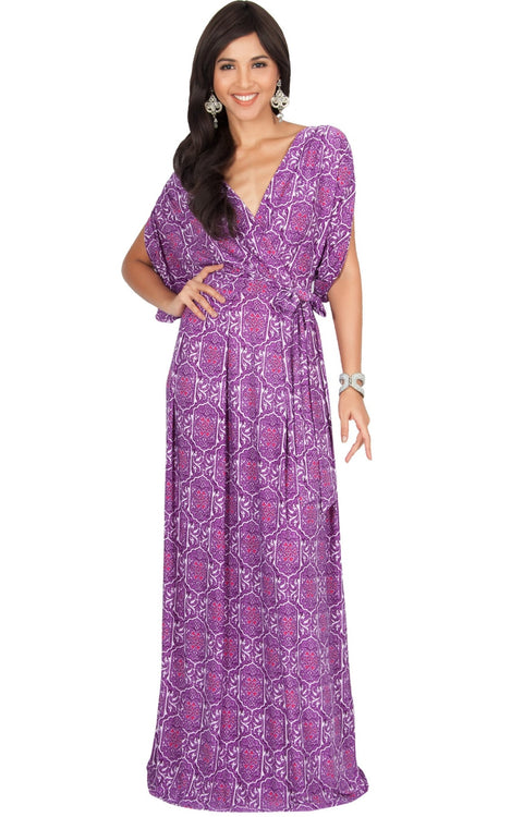 PEONY - Sexy Short Sleeve Cute Boho Print Maxi Dress - Purple / 2X Large