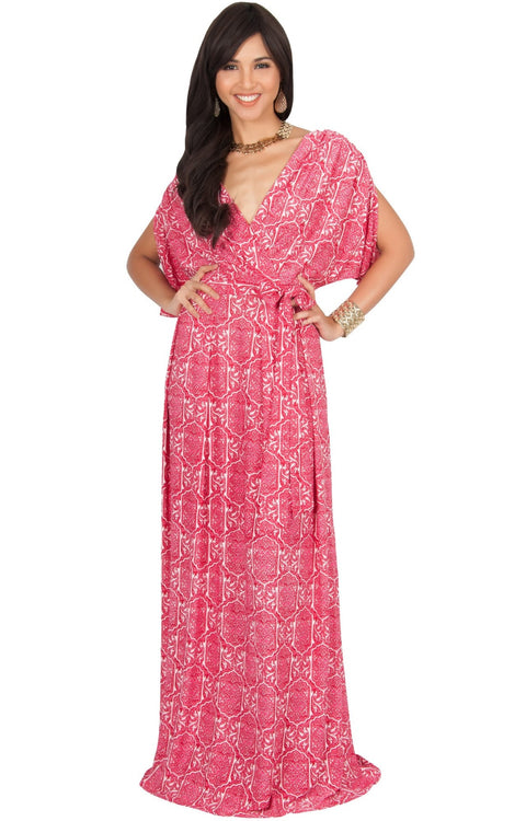 PEONY - Sexy Short Sleeve Cute Boho Print Maxi Dress - Red / 2X Large