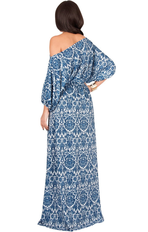 PETAL - Off Shoulder 3/4 Sleeve Bohemian Print Maxi Dress