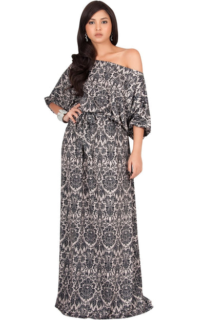 PETAL - Off Shoulder 3/4 Sleeve Bohemian Print Maxi Dress - Black & Beige / 2X Large