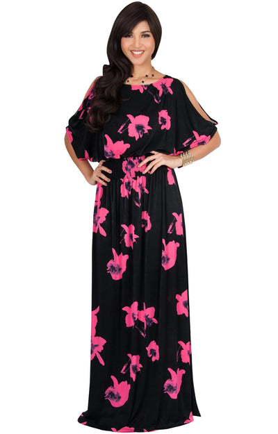 PETRA - Floral Print Split Sleeve Round Neck Maxi Dress - Black & Pink / 2X Large