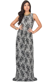 PRIMROSE - Long Spring Summer Flowy Floral Vacation Party Maxi Dress - Black & Gray / 2X Large