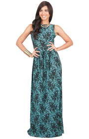 PRIMROSE - Long Spring Summer Flowy Floral Vacation Party Maxi Dress - Green & Black / 2X Large