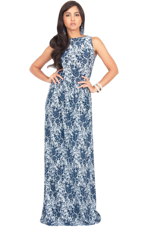 PRIMROSE - Long Spring Summer Flowy Floral Vacation Party Maxi Dress - Navy Blue & White / 2X Large