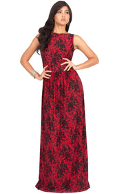 PRIMROSE - Long Spring Summer Flowy Floral Vacation Party Maxi Dress - Red & Black / 2X Large
