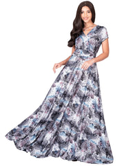 QUIN - Long Flowy Short Cap Sleeve Summer Floral Print Maxi Dress Gown - Black & Gray & White / Extra Small