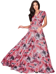 QUIN - Long Flowy Short Cap Sleeve Summer Floral Print Maxi Dress Gown - Red & White / Extra Small