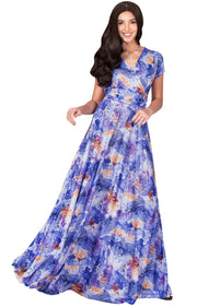 QUIN - Long Flowy Short Cap Sleeve Summer Floral Print Maxi Dress Gown - Royal Blue & White / Extra Small