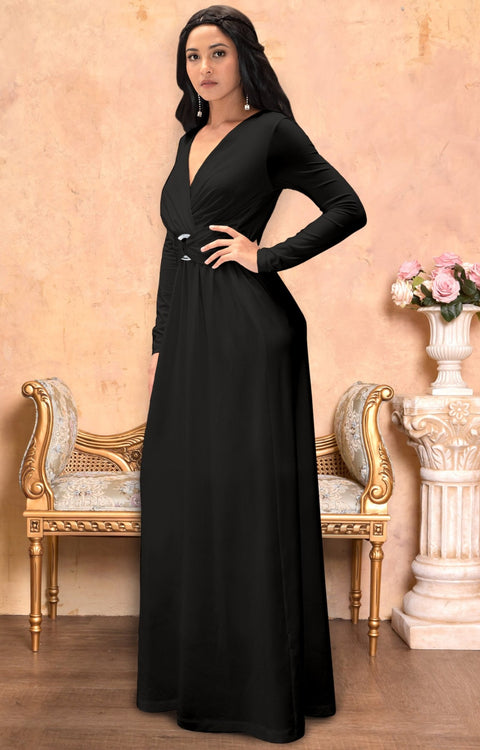 RAIVA - Long Sleeve Modest Flowy V-neck Fall Casual Maxi Dress Gown
