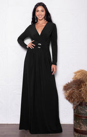 RAIVA - Long Sleeve Modest Flowy V-neck Fall Casual Maxi Dress Gown - Black / 2X Large