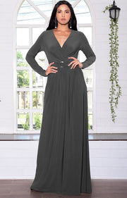RAIVA - Long Sleeve Modest Flowy V-neck Fall Casual Maxi Dress Gown - Dark Gray Grey / 2X Large