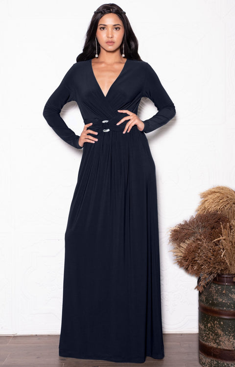 RAIVA - Long Sleeve Modest Flowy V-neck Fall Casual Maxi Dress Gown - Dark Navy Blue / 2X Large