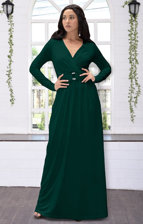 RAIVA - Long Sleeve Modest Flowy V-neck Fall Casual Maxi Dress Gown - Emerald Green / 2X Large