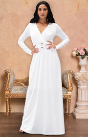RAIVA - Long Sleeve Modest Flowy V-neck Fall Casual Maxi Dress Gown - Ivory White / 2X Large