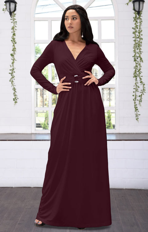 RAIVA - Long Sleeve Modest Flowy V-neck Fall Casual Maxi Dress Gown - Maroon Wine Red / 2X Large