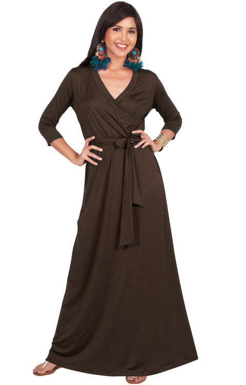REESE - Long Sleeve Maxi Dress Evening Gown 3/4 Empire Waist V-Neck - Dark Brown / 2X Large