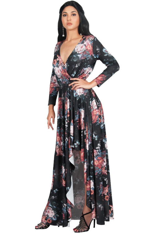 d72b1880022 REXI - Long Sleeve Flowy V-neck Floral Print Casual Maxi Dress Gown ...