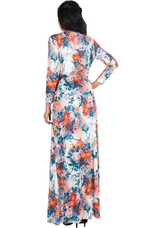 REXI - Long Sleeve Flowy V-neck Floral Print Casual Maxi Dress Gown