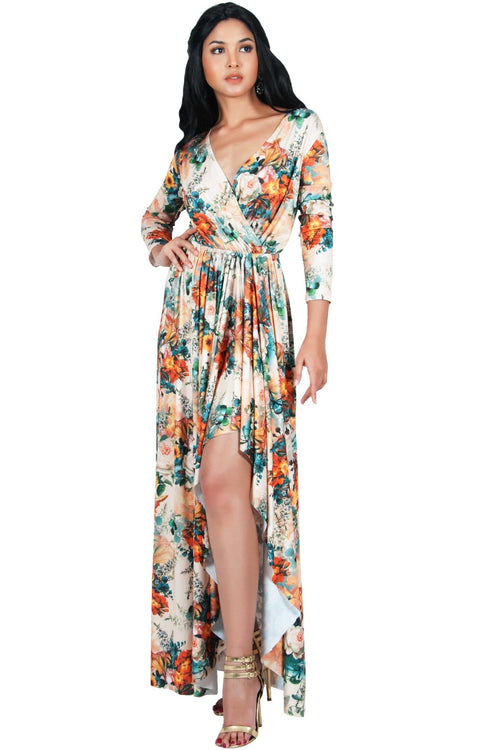 REXI - Long Sleeve Flowy V-neck Floral Print Casual Maxi Dress Gown - Beige & Orange / Large