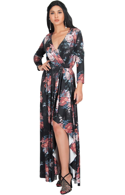 REXI - Long Sleeve Flowy V-neck Floral Print Casual Maxi Dress Gown - Black & Pink / Large