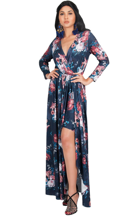 REXI - Long Sleeve Flowy V-neck Floral Print Casual Maxi Dress Gown - Navy Blue & Pink / Large